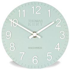 Thomas Kent Cotswold Clock in Blue Wall Clock 50cm, Desk Clock, Grey Clocks, Big Clocks, Pale Blue Walls, Aqua Walls, Living Room Clocks, Kitchen Wall Clocks, Kitchen Walls