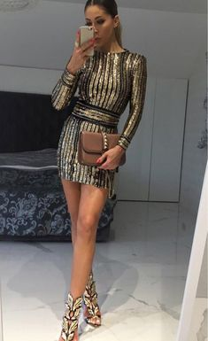 Honey Couture ANICE Black Gold Long Sleeve Sequin Belt Rope Dress Australian Online Store One Honey Boutique AfterPay ZipPay Image source Clubbing Outfits, Dress Outfits, Fashion Outfits, Dress Fashion, Body Con Dress, Birthday Dress Women, 18th Birthday Dress, New Years Eve Outfits, New Years Dress