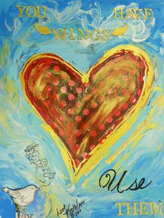 "Custom Mixed Media Inspirational Heart Painting Textured- 16""x20""inches by Kathleen Fenton"