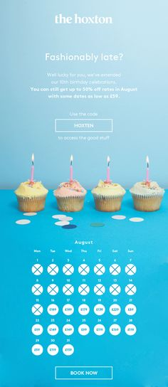 Happy 10th Birthday. Up to 50% off nightly rates through August. Use the Code: HOXTEN