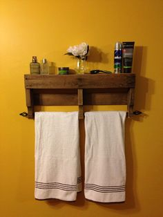 Great Idea, Doesn't cost $55 to do it either!!   Rustic Pallet Towel Rack Shelf Bathroom by ReformedByLeviathan, $55.00
