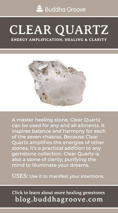 - A Guide to Healing Gemstones Clear Quartz – Energy Amplification, Healing, and Clarity Minerals And Gemstones, Crystals Minerals, Rocks And Minerals, Healing Gemstones, Raw Gemstones, Crystal Guide, Crystal Magic, Crystal Healing Stones, Stones And Crystals