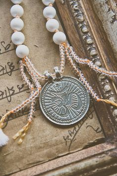 OM Shanti Shanti Shanti MALA beads White Shell necklace /India