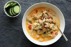 Gryderet med kylling, porrer og fløde | Chicken and leak casserole with cream sauce