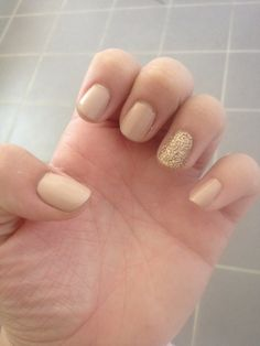 Nude and gold nails