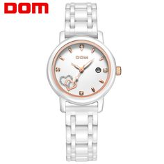 44.90$  Buy now - http://ali9w1.worldwells.pw/go.php?t=32269783471 - DOM women luxury brand watches waterproof style quartz watch ceramic nurse watch reloj hombre marca de lujo T-580