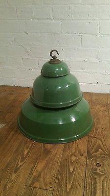 Original Vintage Industrial Enamel Factory Pendant Light Lamp Shades double bulb Original Vintage, Butter Dish, Lights, Antiques, Antiquities, Antique, Lighting, Old Stuff, Rope Lighting