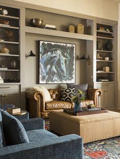 Living Room Sofa Blue Bookshelves 23 Ideas For 2019 Living Room Sofa, Living Room Furniture, Living Room Decor, Home Library Design, Home Office Design, Blue Bookshelves, Bookcase, Blue Accent Chairs, Furniture Layout