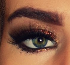 Copper Sparkle -- Kinda messy on the eyebrows but the eye look is pretty!