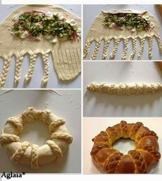 Make a basic bread dough, add fillings, braid up like photo. Buffet Party, Pan Relleno, Bread Shaping, Bread Art, Braided Bread, Snacks Für Party, Bread And Pastries, Food Decoration, Daily Bread