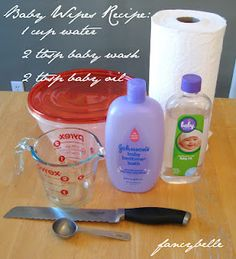 How to make quick and easy homemade baby wipes, recipe and tutorial with photos. After our third child was born with even more sensitive skin than the last, I decided to explore the option of homemade baby wipes to save both time and money. Do It Yourself Baby, Diy Bebe, Homemade Baby, Homemade Wipes, Homemade Febreze, Diy Cleaners, Household Cleaners, Baby Oil, Diy Cleaning Products