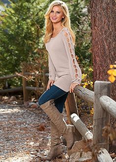 Up your sweater game with a little detail. Venus sleeve detail tunic sweater. Sizes XS-XL!