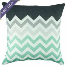 """Chevron-print pillow. Handmade in the USA.   Product: PillowConstruction Material: Linen blendColor: Mint and whiteFeatures:  Envelope enclosureMade in the USAInsert includedHandmade by TheWatsonShop Dimensions: 16"""" x 16""""Cleaning and Care: Dry clean only"""