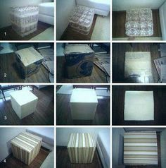 facil+taburete+de+pet+paso+a+paso. Diy Cardboard Furniture, Recycled Furniture, Recycled Glass Bottles, Recycle Plastic Bottles, Diy Craft Projects, Diy And Crafts, Diy Puffs, Diy Pet, Diy Pallet Bed