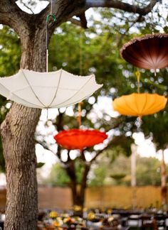 strung parasols decorating the reception  Photography by ozzygarciablog.com, Wedding Planning, Design   Coordination by jcgevents.com