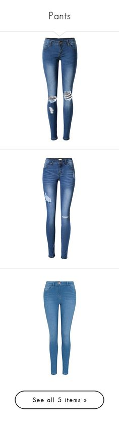 """""""Pants"""" by puppylover32203 ❤ liked on Polyvore featuring jeans, pants, bottoms, calças, slim fit jeans, slim fit blue jeans, ripped jeans, patched jeans, distressed jeans and pantalones"""