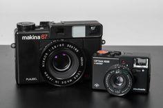Functionalist camera design, the Agfa 1035 and the Plaubel Makina 67 - Classic Camera, Photography Gear, Camera Gear, Fujifilm Instax Mini, Binoculars, At Least, Journey, Digital, Industrial Design