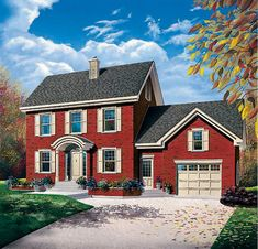 Colonial House Plan 65220