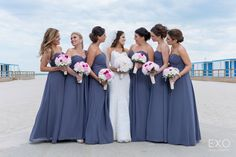 Gorgeous summer and spring Purple Bridesmaid dresses for a beach shot captured by EXO Photography & Cinema