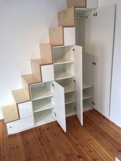 Loft Bed Stairs, Mezzanine Bedroom, Tiny House Stairs, Tiny House Bedroom, Room Design Bedroom, Tiny House Cabin, Room Ideas Bedroom, Home Room Design, Tiny House Plans