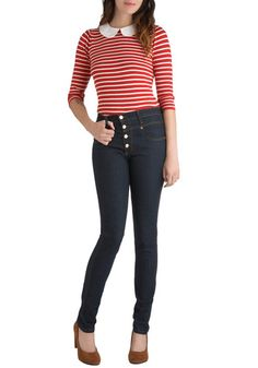 I love high-waisted jeans!  Hip-huggers are a plague on the fashion world.  Karaoke Songstress Jeans in Dark Wash, #ModCloth