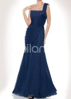 Dark Navy One Shoulder Flower Sequin Chiffon Evening Dress US$ 116.99