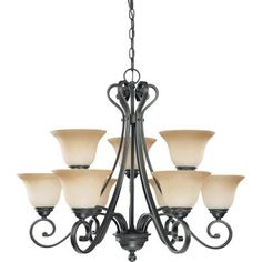 Glomar 9-Light Sudbury Bronze 2-Tier Chandelier with Champagne Linen Glass Shade