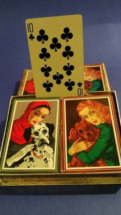 Vintage 2 Pack Art Deco playing cards with Box by LittleBitsBazaar