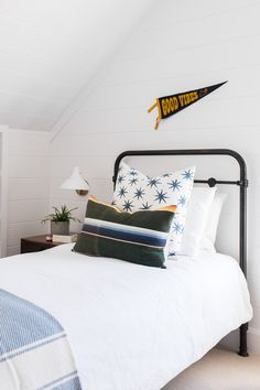 Windsong Project: Boys' Room, Laundry, Playroom (STUDIO MCGEE) - neutral boy bedroom decor, vintage boy bedroom decor with iron bed and boho pillows, kid pennant an - Boys Bedroom Decor, Girls Bedroom, Kid Bedrooms, Bedroom Ideas, Bedroom Designs, Decor Room, Vintage Boys Bedrooms, Studio Mcgee, Ideas Hogar