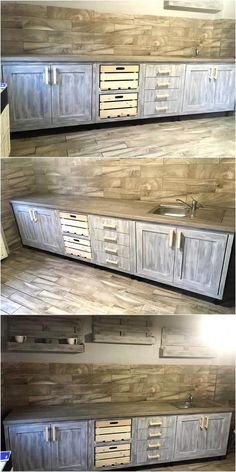 Vintage Style Repurposed Wood Pallets Kitchen We always try to show the ideas that are easy to copy and which make the kitchen appear different from those seen in the other homes with the owners who are not much interested in the decoration of the home. Diy Pallet Furniture, Diy Pallet Projects, Kitchen Furniture, Pallet Ideas, Furniture Stores, Furniture Direct, Discount Furniture, Pallet Couch, Furniture Nyc