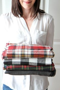 How to make a blanket scarf with flannel.