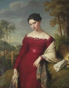 books0977:  Potrait of a young elegant lady, three-quarter length, in a red dress with an embroidered shawl, standing in a landscape (1824). Eduard Friedrich Leybold (German, 1798-1879). Oil on canvas. The lady, having put aside the scroll she was reading, is elegant in her Kashmir paisley shawl. As shawls from Kashmir become fashionable in Europe, France and Great Britain established mechanized shawl industries, one of the more important centres being Paisley, Scot., where the kashmir—or…