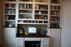 built in desk x2 and bookcase add media area and fireplace area