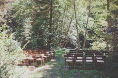 wedding ceremony setup - photo by Evynn LeValley Photography http://ruffledblog.com/woodland-wedding-in-the-big-sur-redwoods