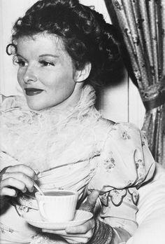 Katharine Hepburn on the set of Quality Street, 1937