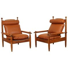Pair of Oak and Leather Armchairs by Guillerme et Chambron 1