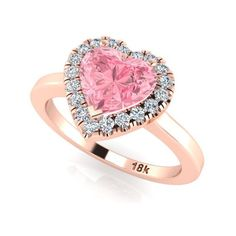 Bridal Diamond Rings, Wedding Ring, Engagement Rings, Pink Heart Shape... ($1,385) ❤ liked on Polyvore featuring jewelry, rings, wedding rings, sapphire wedding rings, engagement rings, pink heart ring and pink wedding rings