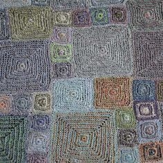 Scarf, Ynez - Sophie Digard crochet - multicolored squares in muted colors