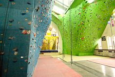 Vibrantly colored walls and notches invite climbing at every skill level.  Reach new heights at this rock climbing gym housed in Sherbrooke's former church of Christ the King. The facility offers climbing for all ages and ability levels. You can climb all the way up to the ceiling where experts will find some challenging circuits.  Location: Sherbrooke, Quebec Rock Climbing Gym, Christ The King, Escalade, Adaptive Reuse, Churches Of Christ, Church Building, At Home Gym, Wall Colors, Circuits