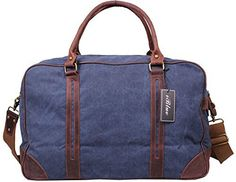 Iblue Travel Luggage Tote Canvas Leather Trim Weekend Duffle Shoulder Bag
