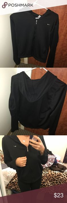 Nike black track running jacket Size large but could fit a medium as well. Great condition! Nike Tops Sweatshirts & Hoodies