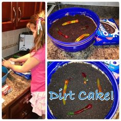 Dirt cake!  Oreos, cream cheese, chocolate pudding, butter, milk, cool whip…