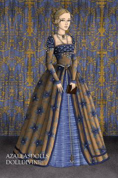 New blue combo with beads... ~ by Inanna ~ created using the Tudors doll maker | DollDivine.com