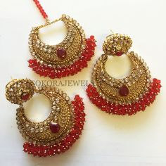 Anjali hand crafted Earring and Tikka set - Red by SokoraJewellery on Etsy