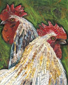 Lori Siebert Solid-Faced Canvas Print Wall Art Print entitled Chickens Collage, None Chicken Painting, Chicken Art, Magazine Collage, Magazine Art, Paper Collage Art, Paper Art, Fish Collage, Rooster Art, Rooster Painting