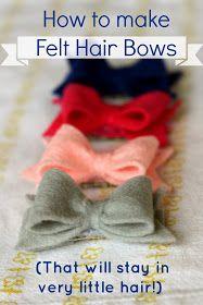 CREATE STUDIO: How to Make Felt Hair Bows that Stick! Felt Hair Bows, Diy Hair Bows, Felt Hair Clips, Baby Hair Clips, Ribbon Hair Bows, Wired Ribbon, Diy Headband, Baby Headbands, Flower Headbands