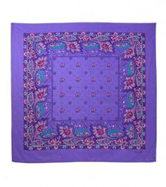 Foulard coton «Pompadour » violet 90x 90 cm