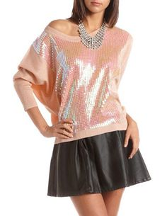 Long-Sleeve Sequin Sweater: Charlotte Russe