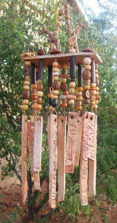Porcelain Wind Chimes - Handmade Beaded Tribal Giraffe Design on Etsy, $45.00