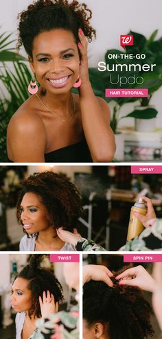 """Say """"hello"""" to your new summer on-the-go updo! At home, prep hair with oil sheen to moisturize & smooth tresses in humidity. Then section your hair (this will be done in four parts: crown, each side & back) by twisting it tightly, leaving out the ends. Secure it with a spin pin by simply """"screwing"""" it into your twisted hair to lock it in place. With a little practice, you'll be able to do this with no mirror—beachside! Get the full hair tutorial on our Be Beautiful blog!"""